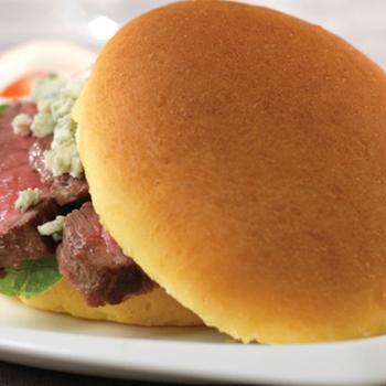 """4.5"""" High Gloss Yellow Hamburger Bun, Sliced"""
